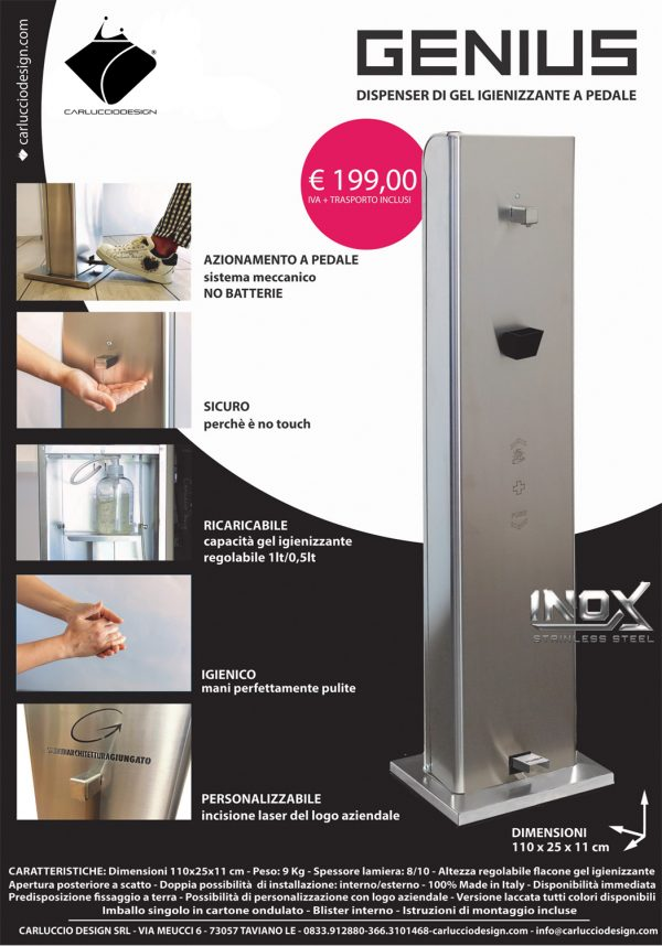 Dispenser gel igienizzante a pedale GENIUS®